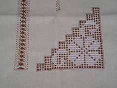 Hardanger Tablecloth With Hearts Photo: This Photo was uploaded by Find other Hardanger Tablecloth With Hearts pictures and photos or uplo. Crochet Borders, Filet Crochet, Crochet Doilies, Hand Embroidery Designs, Embroidery Art, Cross Stitch Embroidery, Embroidery Patterns, Crochet Afgans, Drawn Thread