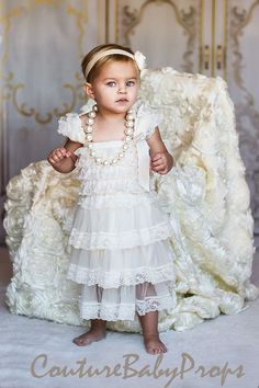 Vintage Ivory Ruffle Lace Girls DRESS Ruffle by CoutureBabyProps