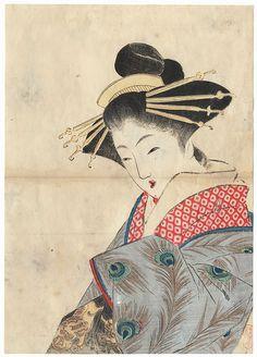 The Courtesan Yugiri Kuchi-e Print, 1911 by Takeuchi Keishu (1847 - 1915)