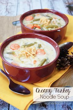 This Creamy Easy Turkey Noodle Soup is perfect for Thanksgiving leftovers! Full of leftover turkey, green beans, carrots, cream of mushroom soup, and topped with crispy onions!