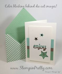 """Enjoy"" a Simple Color Blocked Birthday Card! - http://stampinpretty.com/2015/08/enjoy-a-color-blocked-birthday-card.html  Color blocking makes ""enjoy"" (Mini Treat Bag Thinlits Dies) pop on this birthday card.  More details & Stampin' Up! card ideas on my Stampin' Pretty blog, http://stampinpretty.com.  Mary Fish, Independent Stampin' Up! Demonstrator."