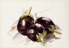 Eggplants Charles Demuth (American, Lancaster, Pennsylvania Lancaster, Pennsylvania) Date: 1927 Medium: Watercolor and graphite on paper Dimensions: H. x cm) Classification: Drawings Watercolor Fruit, Watercolor Paintings, Watercolors, Watercolor Techniques, Charles Demuth, Joseph Stella, Artwork Images, Vintage Wall Art, Metropolitan Museum