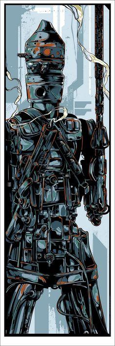 "Mondo Star Wars Screen Print Series #7 - Bounty Hunters Wave 1 ""IG-88"" by Ken Taylor.jpg (Obraz JPEG, 531×1600pikseli)"