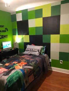Boys Bedroom Decor, Room Ideas Bedroom, Bedroom Themes, Dream Bedroom, Boys Minecraft Bedroom, Minecraft Room, Minecraft Pattern, Festa Hot Wheels, Small Bedroom Designs