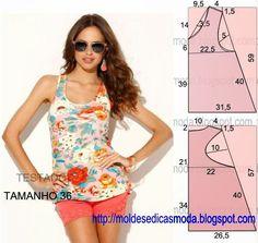 PASSO A PASSO MOLDE DE BLUSA O molde de blusa encontra-se no tamanho 36. Nota: A ilustração do molde de blusa não tem valor de costura. Corte um retângulo
