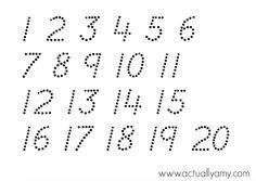 En realidad Amy: Número Tracing para imprimir