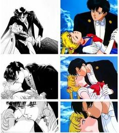 Tuxedo Mask revives Sailor Moon with a kiss.  (Sailor Moon Manga and Sailor Moon R: The Promise of the Rose)