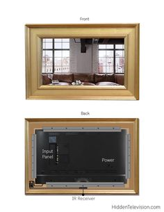 The Frame Mirror Kit upgrades your TV to a mirror TV. Two Way Mirror, Mirror Kit, Diy Mirror, Mirror House, Sunburst Mirror, Tv Over Fireplace, Home Fireplace, Linear Fireplace, Tv Escondida