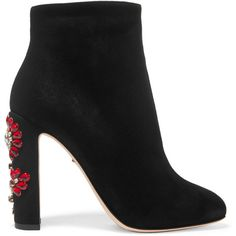 Dolce & Gabbana Crystal-embellished suede ankle boots ($1,095) ❤ liked on Polyvore featuring shoes, boots, ankle booties, ankle boots, dolce & gabbana, sapatos, high heel bootie, high heel booties, bootie boots and short boots