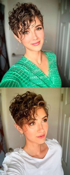 Curly Short Hair Cuts For Women, Thick Curly Haircuts, Pixie Cut Curly Hair, Pixie Haircut Styles, Short Curly Pixie, Short Curly Hairstyles For Women, Pixie Haircut For Thick Hair, Mom Hairstyles, Very Short Hair