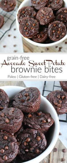 Grain-free Avocado Sweet Potato Brownie Bites | paleo dessert recipes | gluten-free desserts | dairy-free desserts | paleo brownies | gluten-free brownies | dairy-free brownies | healthier dessert recipes | desserts using avocado | desserts using sweet potatoes || The Real Food Dietitians #paleobrownies #glutenfreebrownies #dairyfreebrownies #healthydessert