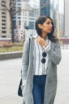 long grey sweater, stripe linen shirt, chicago blogger