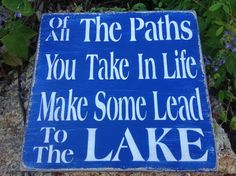 Lake sign lake  lake home decor by KerriArt on Etsy.
