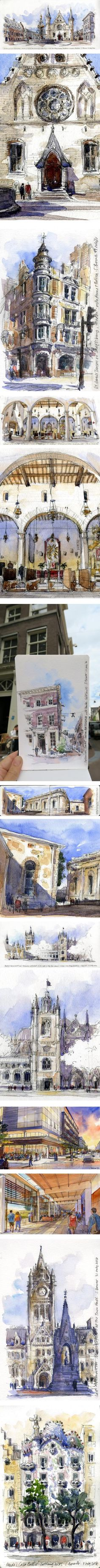 Stephanie Bower, urban sketcher, architectural watercolor illustration