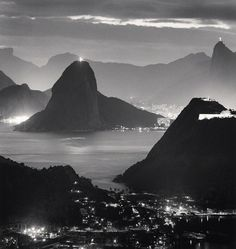 For Sale on - Night Lights, Rio de Janeiro, Brazil, 2009 - Landscape Photography, Silver Gelatin Print by Michael Kenna. Black And White Landscape, Camera Obscura, Bnf, Vacation Places, Vacation Ideas, Vacations, Landscape Lighting, Fine Art Photography, Contemporary Photography