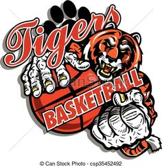 Vector - tiger basketball - stock illustration, royalty free illustrations, stock clip art icon, stock clipart icons, logo, line art, EPS picture, pictures, graphic, graphics, drawing, drawings, vector image, artwork, EPS vector art