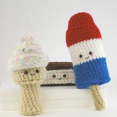 Downloadable Crochet Pattern- Amigurumi Cool Treats Trio by youcute on Etsy https://www.etsy.com/listing/107960272/downloadable-crochet-pattern-amigurumi