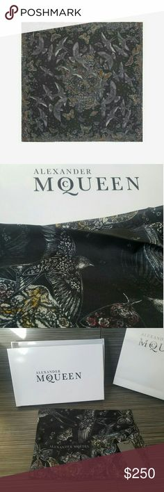 Alexander McQueen skull BUTTERFLY Scarf WILDFLOWER Alexander McQueen black skull BUTTERFLY WILDFLOWER birds flight SCARF winter  Sold Out everywhere!!  Wildflower and bird print on silk. Alexander McQueen signature on the hem. New with tags comes with gift box and gift bag please note that there is some wear and tear on the packaging from Storage PRODUCT CODE 4686343010Q1078  MATERIAL  100% Silk Alexander McQueen Accessories Scarves & Wraps