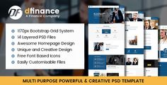 Introduction  dFinance – PSD Template is designed for multi purpose.  This template is suitable for finance, accounting, financial, brokerage, coaching, law office, bussines planning, and other s...
