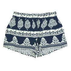 navy. print. shorts.