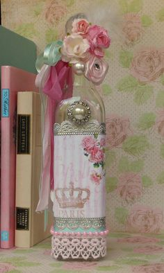 Decorated Glass Bottle Shabby Chic Decor