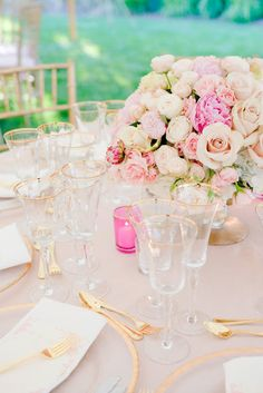 cream & blush, wedding table setting