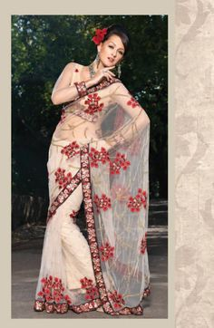 Beige Net Saree 9831 With Unstitched Blouse
