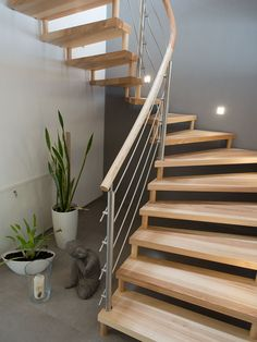Wooden Spiral Stairs Stairways 38 Ideas For 2019 Open Stairs, Loft Stairs, Basement Stairs, Floating Staircase, Spiral Staircase, Staircase Design, Stair Kits, Frameless Glass Balustrade, Concrete Stairs