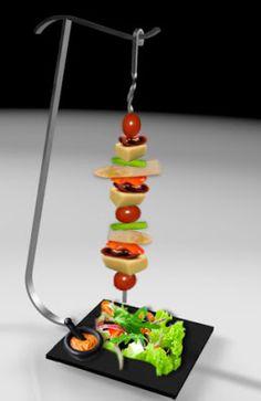 "TU BROCHETA: BROCHETA ""NOSTRA"" Food Tech, Party Buffet, Weird Food, Snack Bar, Skewers, Food Presentation, Food Design, Restaurant Design, Food Styling"