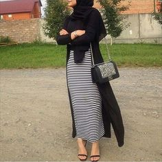How to Style Strip Abaya Ideas – Girls Hijab Style & Hijab Fashion Ideas Modern Hijab Fashion, Street Hijab Fashion, Islamic Fashion, Muslim Fashion, Modest Fashion, Skirt Fashion, Modest Outfits, Fashion Outfits, Fashion Wear