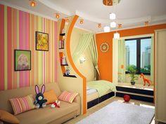 Kids room ideas - drywall shelves for room dividing
