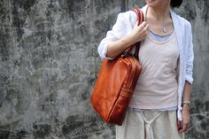Hand Stitched Soft Brown Leather Tote Bag by ArtemisLeatherware