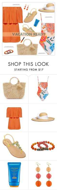 """""""Vacation Ready"""" by marion-fashionista-diva-miller ❤ liked on Polyvore featuring Hat Attack, Mara Hoffman, Alice + Olivia, Sensi Studio, Emanuela Caruso, Kim Rogers, Shiseido, By Terry, vacation and vacationstyle"""