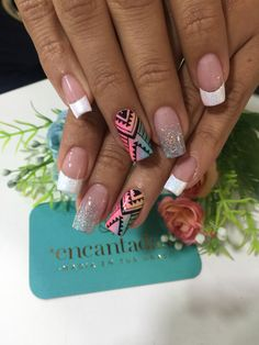 I don't like the French mixed in with it but the design is bomb. Cute Nails, My Nails, Graduation Nails, Mobile Nails, Party Nails, Easter Nails, Flower Nail Art, Nail Decorations, Fabulous Nails
