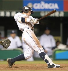 Captain Takumi Kuriyama #1 crushes his 12th of the season, a tie-breaking solo home run to deep right field off Hawks reliever Brian Falkenborg to lead off the bottom of the 8th inning as he leads the Lions to a 2-1 win over the Hawks at Seibu Dome on October 2, 2013 in Tokorozawa, Saitama.