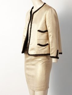 Coco Chanel Haute Couture Gold Lame 3 pc Suit   From a collection of rare vintage suits, outfits and ensembles at http://www.1stdibs.com/fashion/clothing/suits-outfits-ensembles/