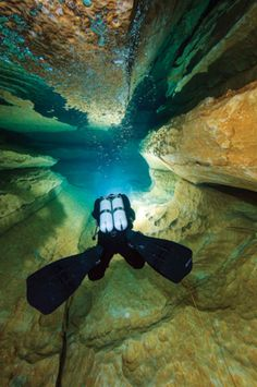 Stake a claim on the last unknown frontier: It lies just beneath our feet. The wonders of scuba diving in caves. Scuba Diving Equipment, Scuba Diving Gear, Cave Diving, Sea Diving, Underwater Caves, Underwater Photos, Underwater Photography, Scuba Diving Pictures, Scuba Diving Magazine