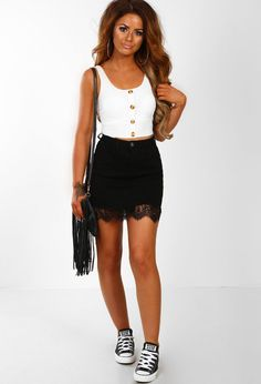 ee37608198 Poise N Pose Black Lace Hem Denim Mini Skirt   Pink Boutique Black Lace  Skirt,