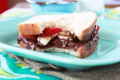 Chocolate Almond Butter with Sea Salt. Spread on bread and top with sliced banana & strawberry for a delicious sandwich!
