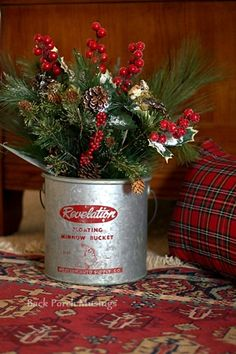 Back Porch Musings minnow bucket Christmas arrangement greenery with red