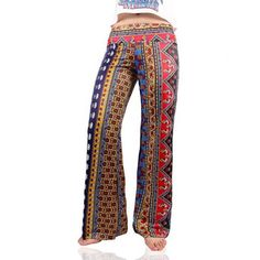 Vintage Women's Tribal Print Loose Exumas Pants (£11) ❤ liked on Polyvore featuring pants, white pants, loose fitted pants, tribal print pants, loose fitting pants and loose pants