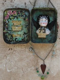Altered Tin Assemblage Angel Doll Head OOAK zne by Mosshillstudio Altered Tins, Altered Bottles, Altered Art, Mixed Media Collage, Collage Art, Tin Can Crafts, Tin Art, Found Art, Little Doll