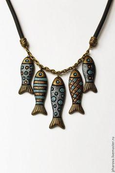 Polymer clay necklace Fish |  Купить Колье из полимерной глины Мечты рыбака - комбинированный, колье полимерная глина, колье рыба