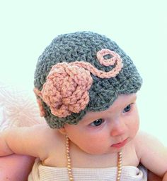 Baby hats baby flapper girl hat pink and gray by crochetedcuddles, $19.95  Baby hats, baby hat, flapper girl hat, grey, pink, flower hat, crochet
