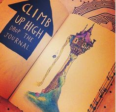 Wreck this journal, climb up high drop the journal, tangled, rapunzel inspired.....♥
