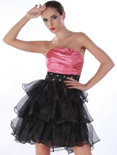 VILAVI Marvelous Princess Organza Tube Top Tiered Cocktail/Prom Dresses, Cocktail Dresses, Prom Dresses