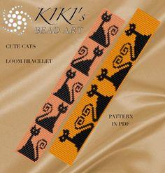 Bead Loom pattern Cute cats LOOM bracelet cuff por KikisBeadArts