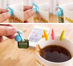 HUAL 6pcs Snail Wineglass Label for Hanging Tea Bag Colorful Snails Clip Silicon Gifts *** See this great product.