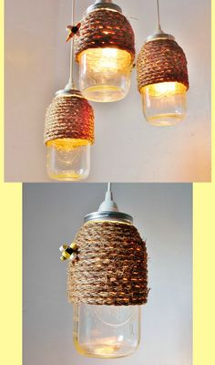 The Hive Mason Jar Pendant Lamp, Hanging Lighting Fixture With A Rope Wrapped Half Gallon Jar, Rustic BootsNGus Lighting & Home Decor #ad #Etsy #bee #homedecor #bees