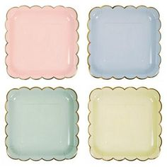 These darling plates will add a delicate touch to any party.  They are embellished with a gold foil scalloped edge for added shine.    Quantity:  8 Pastel Plate